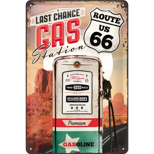 Blechschild Gas Station Route 66 20x30 cm