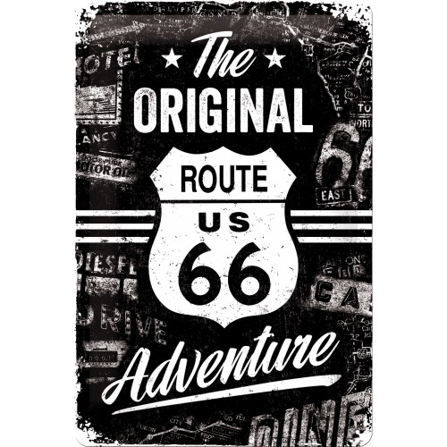 Blechschild Route 66 Adventure 20x30 cm