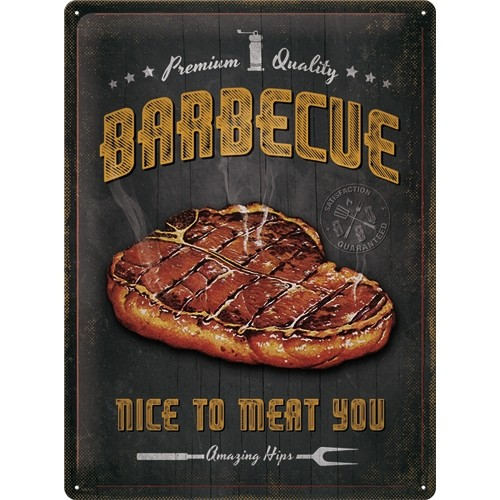 Blechschild - Barbecue Nice To Meat You, 30 x 40 cm
