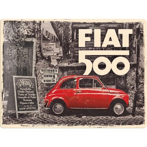 Blechschild - Fiat 500 - Red Car in the Street, 30 x 40 cm
