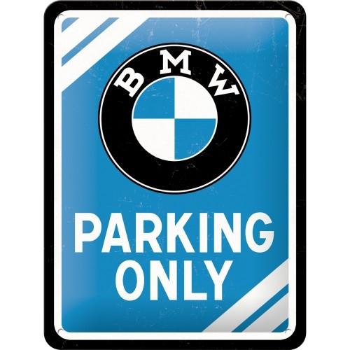 Blechschild - BMW - Parking Only Blue, 15 x 20 cm