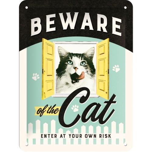 Blechschild - Beware of the Cat, 15 x 20 cm