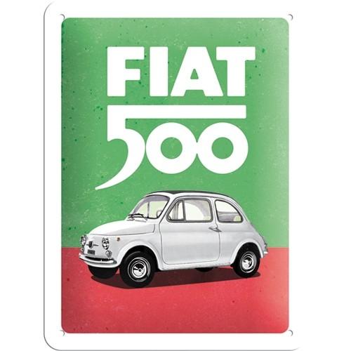 Blechschild - Fiat 500 - Italian Colours, 15 x 20 cm
