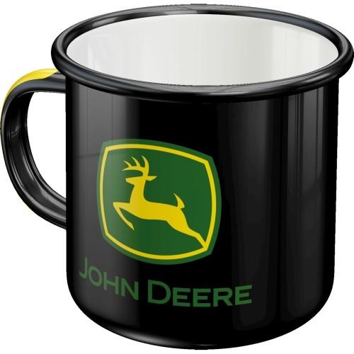 Emaille-Becher - John Deere - Logo Black