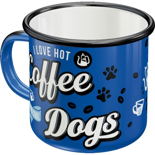 Emaille-Becher - PfotenSchild - Hot Coffee & Cool Dogs
