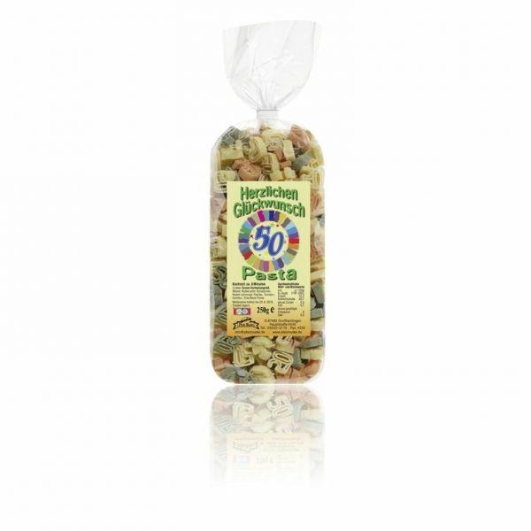 """Pfalznudel - 50 - """"Herzlichen-Glückwunsch-Pasta"""" bunt, 250g"""