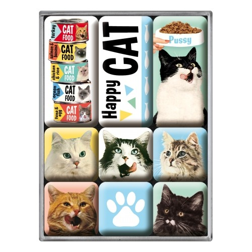Magnet-Set (9tlg.) - Happy Cats
