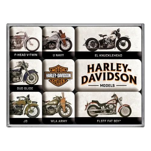 Magnet-Set (9tlg.) - Harley-Davidson - Model Chart