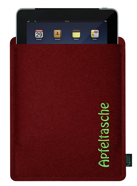iPad 4 Tasche/Hülle Apfeltasche Filz Bordeaux