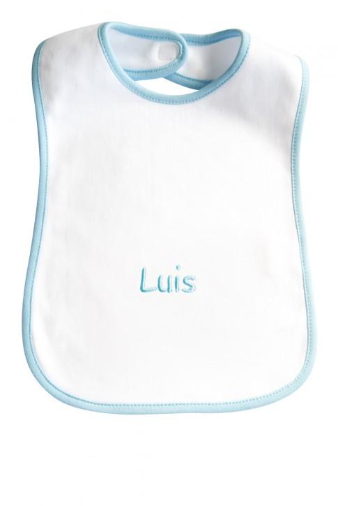 Baby-Lätzchen mit Stickerei Vorname / Wunschbegriff - blau