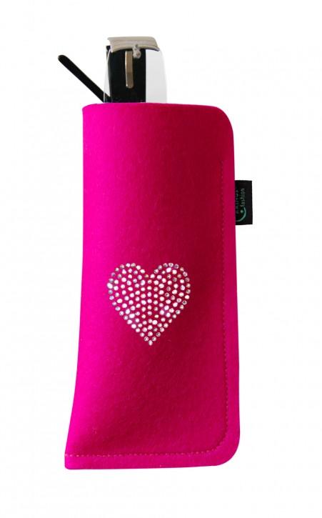 Brillenetui Filz pink verziert mit Swarovski Motiv Herz