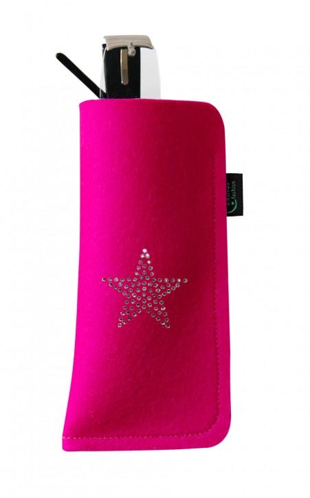 Brillenetui Filz pink verziert mit Swarovski Motiv Stern