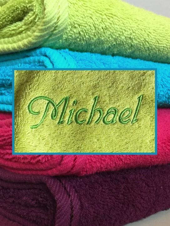 Duschtuch mit Name bestickt, 70x140cm, kiwi, durchgehender Flor, leuchtende Farbe