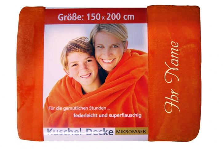 Kuscheldecke mit Namen 150 x 200 cm, orange, Stickfarbe/Name zur Auswahl