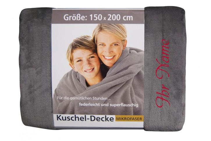 Kuscheldecke mit Namen 150 x 200 cm, silber, Stickfarbe/Name zur Auswahl