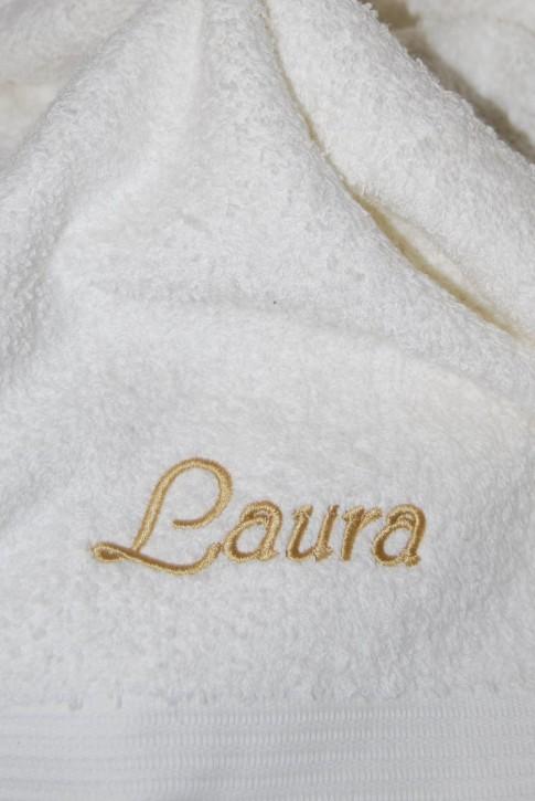 Handtuch mit Name bestickt, 50x100cm, natur; edel und hautsympathisch, Stickerei