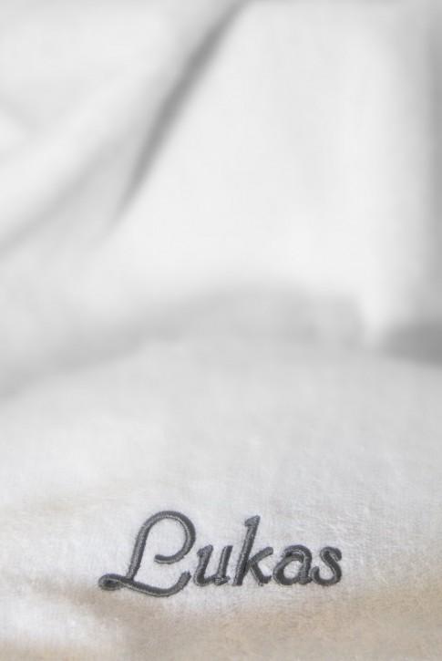 Saunatuch mit Name bestickt, 70x200cm, weiß; edle Handtuchserie, Stickerei