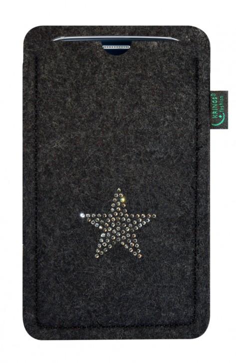 Tasche/Hülle Stern Swarovski-Kristalle Filz Farbe zur Auswahl - Wähle Smartphone