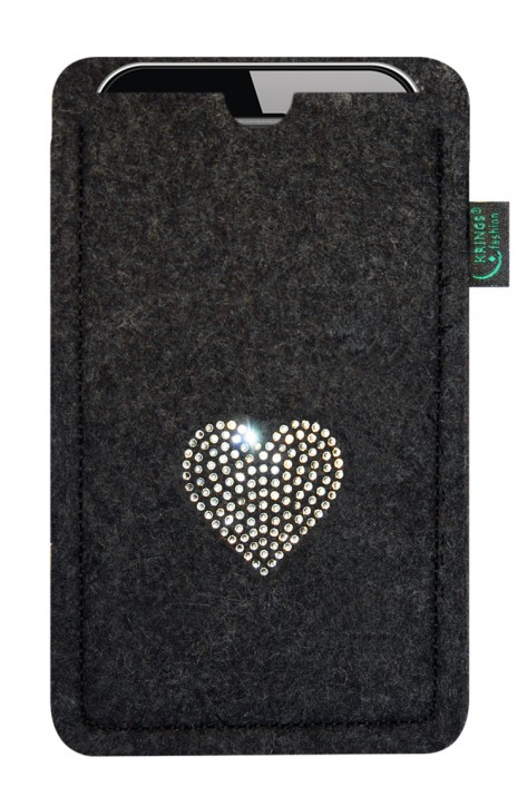 Tasche/Hülle Herz Swarovski-Kristalle Filz Farbe zur Auswahl - Wähle Smartphone