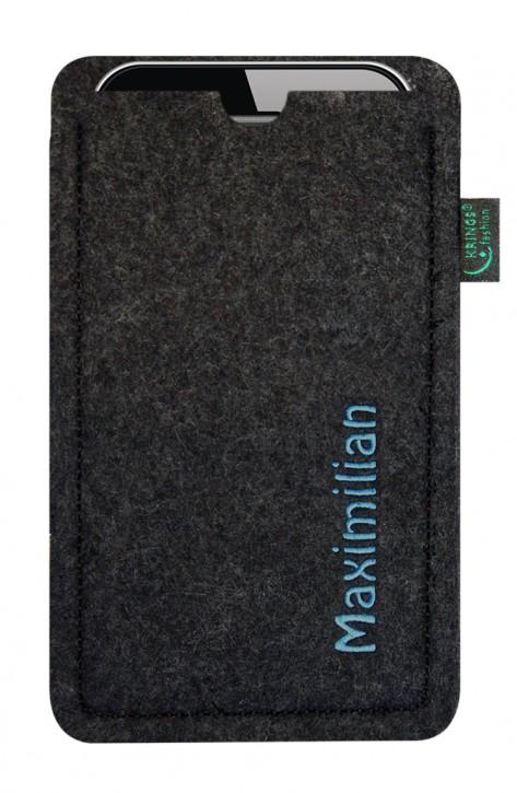Tasche/Hülle individuell Name/Wunschbegriff Filz anthrazit - Wähle Smartphone