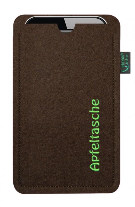 iPhone-Tasche/Hülle Apfeltasche Filz braun - Wähle apple-Modell