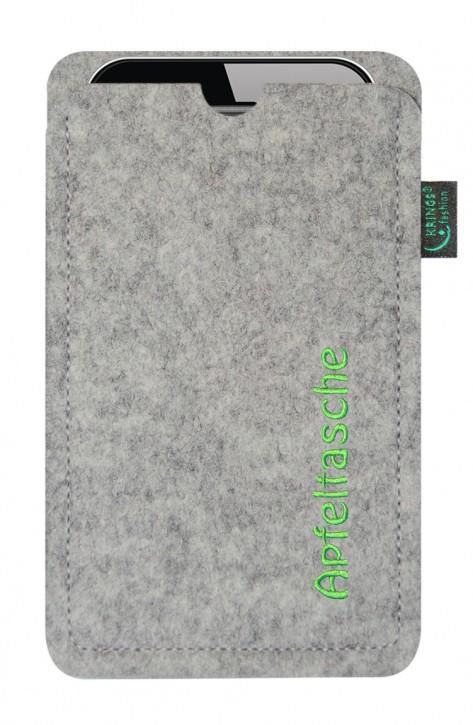 iPhone-Tasche/Hülle Apfeltasche Filz hellgrau - Wähle apple-Modell
