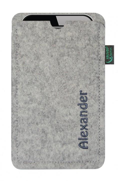 Tasche/Hülle individuell Name/Wunschbegriff Filz hellgrau - Wähle Smartphone
