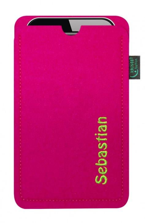 Tasche/Hülle individuell Name/Wunschbegriff Filz pink - Wähle Smartphone