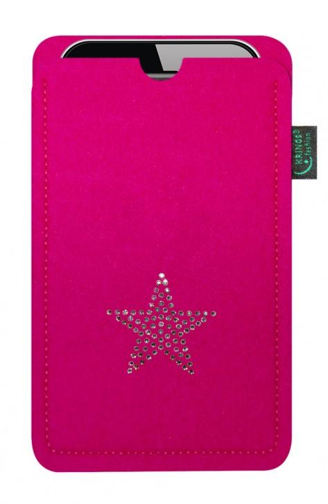 Tasche/Hülle Stern Swarovski-Kristalle Wähle Smartphone und Filzfarbe