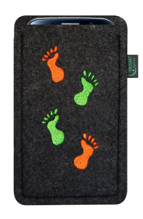 Tasche/Hülle laufende Füße Filz Farbe zur Auswahl - Wähle Smartphone
