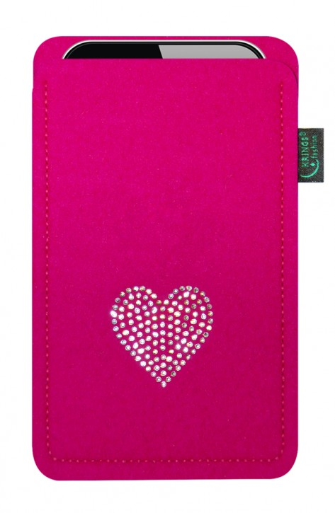 Tasche/Hülle Herz Swarovski-Kristalle Filz pink - Wähle Smartphone