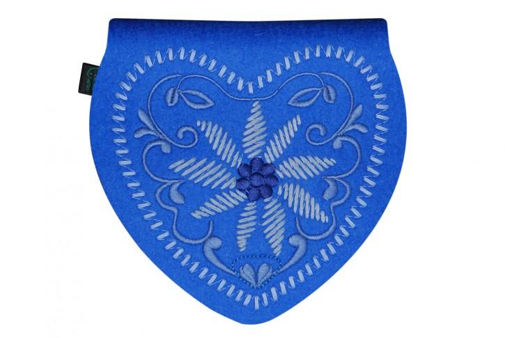 Herztasche Gürteltasche Dirndltasche Tracht Tasche Filz blau
