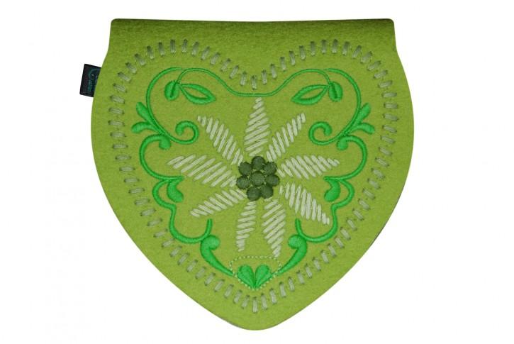 Herztasche Gürteltasche Dirndltasche Tracht Tasche Filz lime