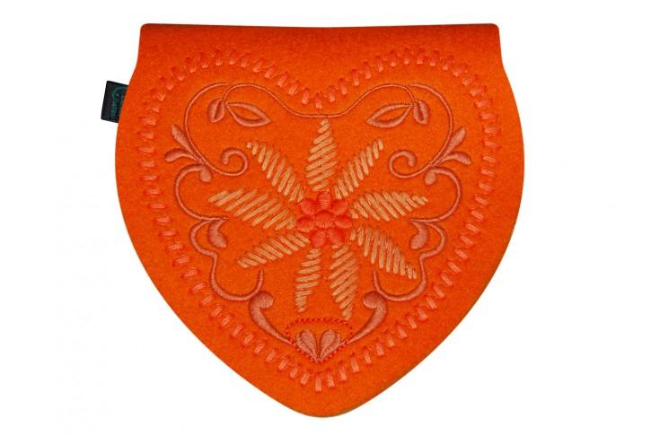 Herztasche Gürteltasche Dirndltasche Tracht Tasche Filz orange