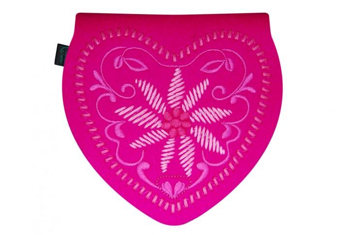 Herztasche Gürteltasche Dirndltasche Tracht Tasche Filz pink