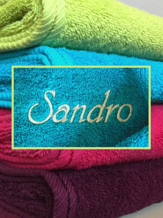 Handtuch mit Name bestickt, 50x100cm, hawaii, durchgehender Flor