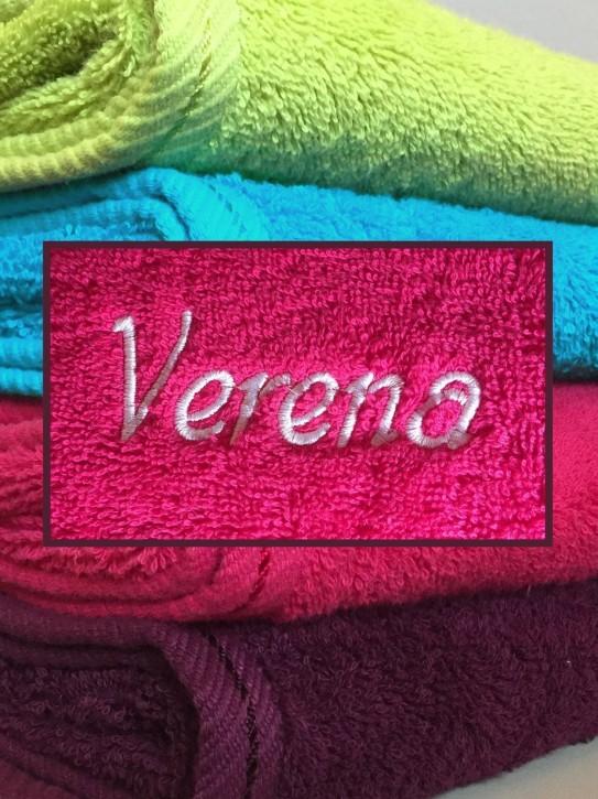 Handtuch mit Name bestickt, 50x100cm, himbeere, durchgehender Flor