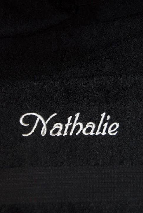 Handtuch mit Name, 50x100cm, schwarz; edel und hautsympathisch, Stickerei
