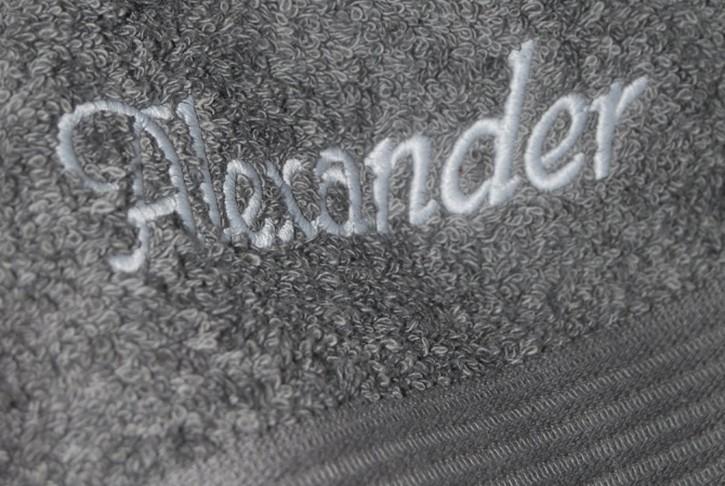 Handtuch mit Name bestickt, 50x100cm, anthrazit; edel und hautsympathisch, Stickerei