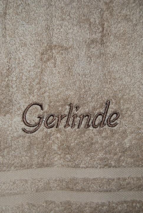 Saunatuch mit Name bestickt, 70x200cm, cappuccino; edle Handtuchserie, Stickerei