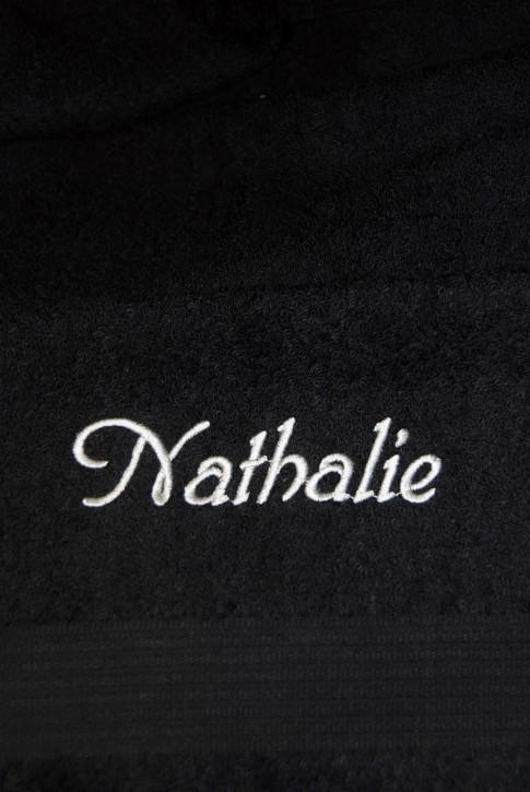 Duschtuch mit Name bestickt, 70x140cm, schwarz; edle Handtuchserie, Stickerei