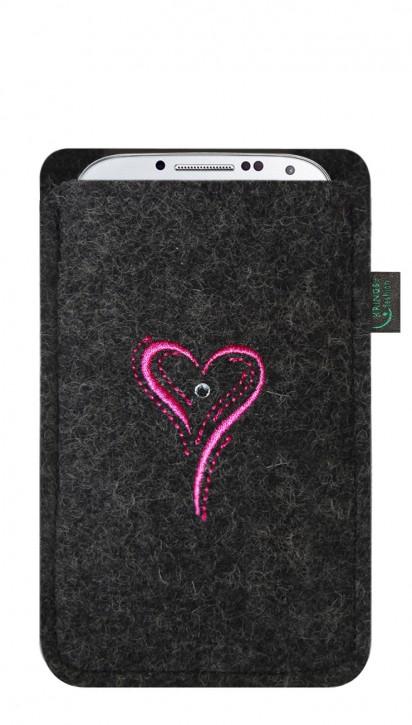Tasche/Hülle Herz pink Filz Farbe zur Auswahl - Wähle Smartphone