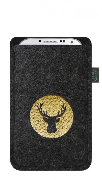 Tasche/Hülle Hirsch gold/gelb Filz Farbe zur Auswahl - Wähle Smartphone
