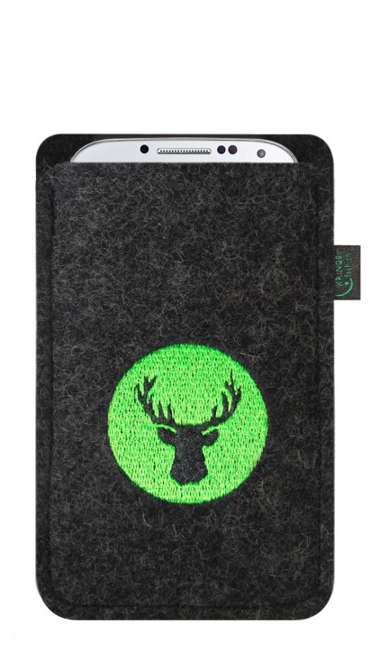 Tasche/Hülle Hirsch grün Filzfarbe Anthrazit - Wähle Smartphone
