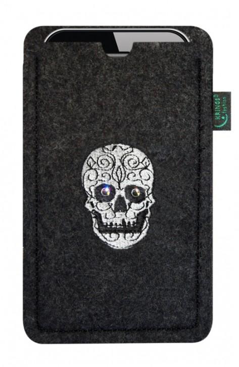 Tasche/Hülle Skull Swaro Filz Farbe zur Auswahl - Wähle Smartphone