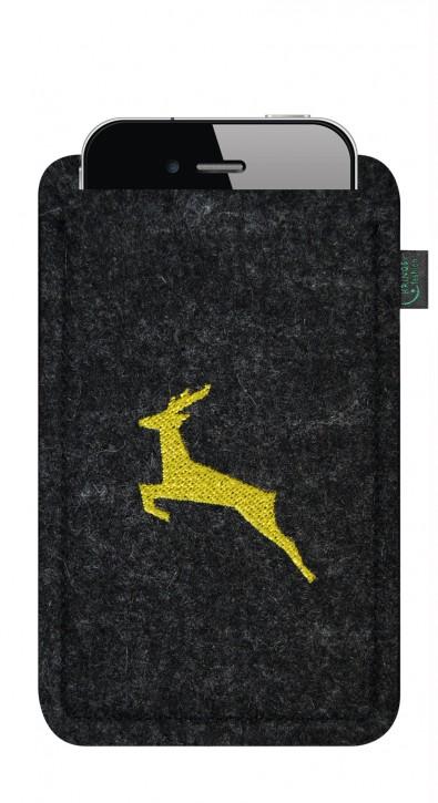 Tasche/Hülle Springender Hirsch 4 Filzfarben zur Auswahl - Wähle Smartphone