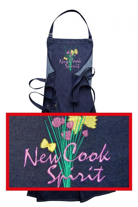 Jeans-Latzschürze New Cook Spirit, hochwertig gestickt, Blue Denim