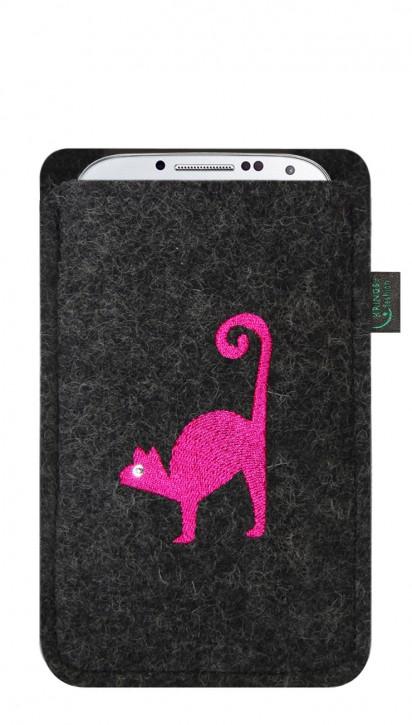 Tasche/Hülle Katze pink Filz Farbe zur Auswahl - Wähle Smartphone