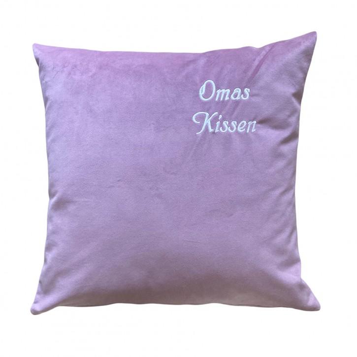 KringsFashion Kissen Kuschelkissen mit Name, 50 x 50 cm, altrosa, Stickfarbe bordeaux, Wunschtext individuell eingestickt; Hülle mit Inlett,