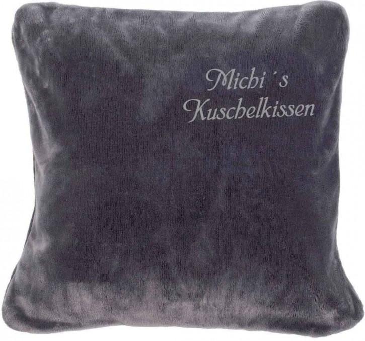 KringsFashion Kissen Kuschelkissen mit Name, 50 x 50 cm, anthrazit, Stickfarbe silber, Wunschtext individuell eingestickt; Hülle mit Inlett,